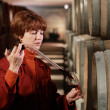 Tasting wine in the winery - Stock Photo