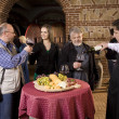 Celebration and tasting wine in the winery — Stock Photo