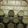 Wine cellars with big baerels - Stock Photo