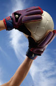 Goalkeeper catching the ball — Stock Photo