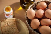 Eggs in a basket and toast bread — Stock Photo