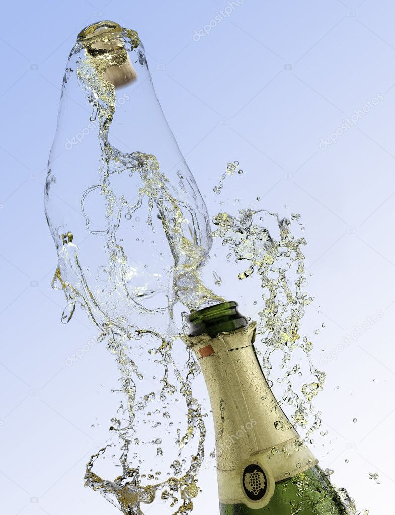 Celebration with drink champagne bubbles — Stock Photo © Elchoclo ...