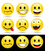Set of characters of yellow emotions — Stock Photo