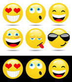Set of characters of yellow emoticons — Stock Photo