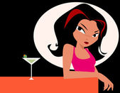 Woman with glass of martini — Stock Photo