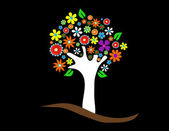 Colorful tree with flowers vector illustration — Stock Photo