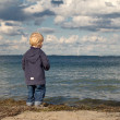Stock Photo: Little boy at beach looking towards sein autumn