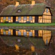 Stock Photo: Yellow half timbered house at lake