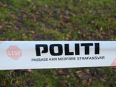 Danish police barrier sign — Stockfoto