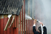 Small fire in a house — Stock Photo