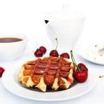 Tasty waffles with jam — Stock Photo