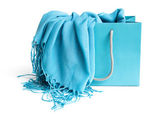 Shopping bag with scarf — Stock Photo