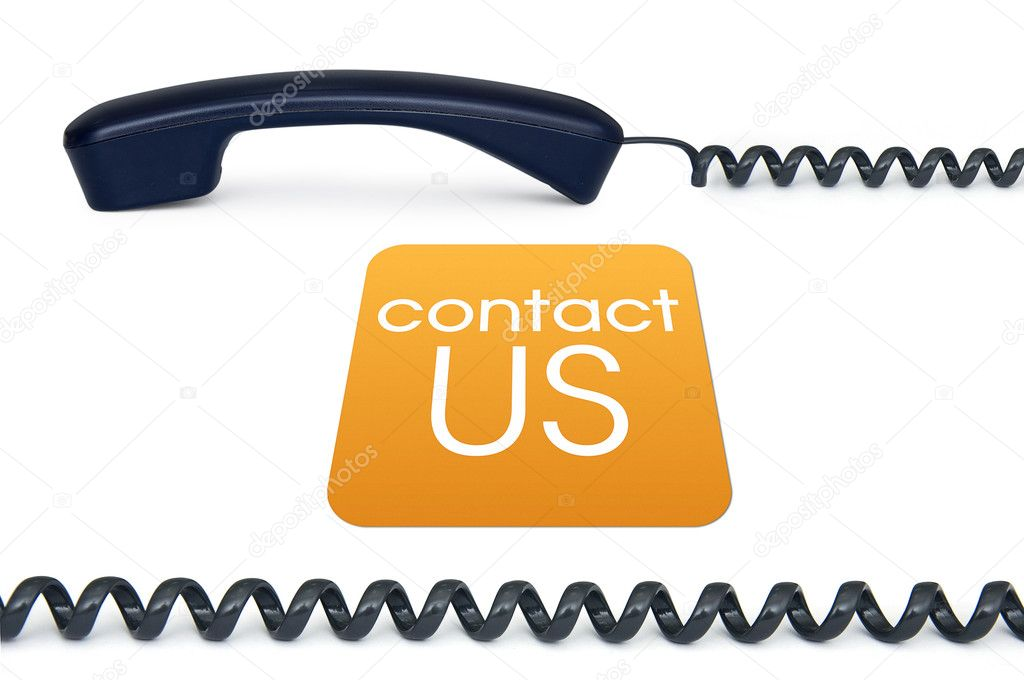 Black handset isolated on a white background with the sign contact us — Stock Photo #5916164