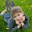 Stock Photo: Boy lying on dandelion meadow