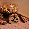 Cinnamon and nuts — Stock Photo