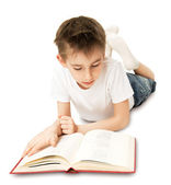 Boy Reading Book — Stockfoto