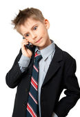 Kid talking on a cell phone — Stock Photo