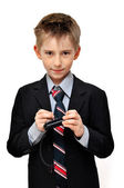 Boy In Suit wrote an mesage — Stock Photo