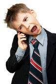 Boy In Suit Yelling — Stock Photo
