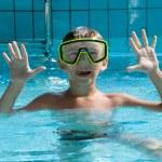 Cute boy wearing in yellow goggles — Stock Photo #6234389