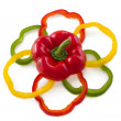 Sliced bell peppers arrange in flower shape. — Stock Photo