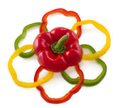 Sliced bell peppers arrange in flower shape. — Foto de Stock