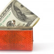 Stock Photo: Money in wallet, isolated.