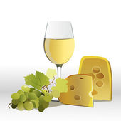 Wine with cheese and grapes — Stock Photo