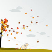 Cloudy autumn background with leaves — Stock Photo