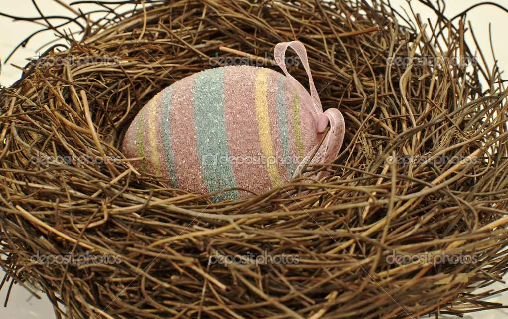 Striped easter egg in birds nest on white — Stock Photo #6073749