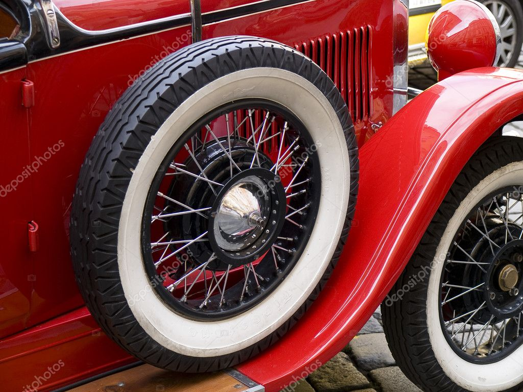 Old classic car wheels and tyres  Foto Stock #6563299