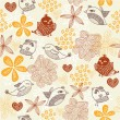 Retro floral background with birds in vector. - Stock Vector