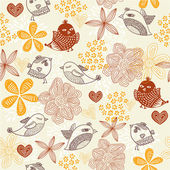 Retro floral background with birds in vector. — Stock Vector