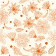 Retro floral seamless background in vector - Stock Vector