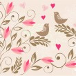 Floral background with birds in vector - Stock Vector