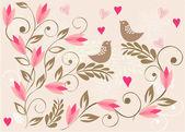 Kuşlar vektör çiçek arka plan — Stok Vektör
