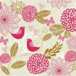 Retro floral seamless background in vector — Imagens vectoriais em stock