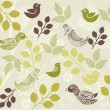Retro floral background with birds in vector — Stock Vector