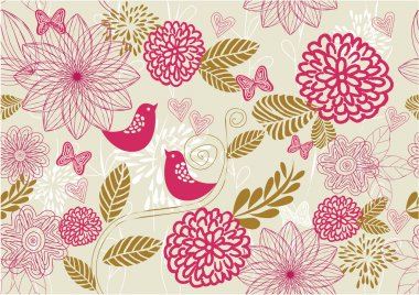Retro floral seamless background in vector
