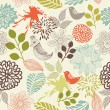 Stock Vector: Retro floral seamless background with birds in vector