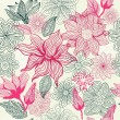 Seamless texture with flowers in vector - Imagen vectorial