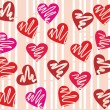 Seamless valentine day heart background in vector. — Stockvectorbeeld