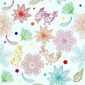Kids seamless pattern with flowers in vector — Stock Vector