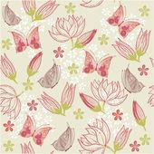 Sem costura fundo floral com borboleta em vetor — Vetor de Stock