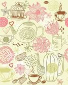 Seamless floral background with cups and teapots in vector — Stock Vector