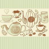 Retro achtergrond met cups en theepotten in vector — Stockvector