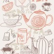 Background with cups and teapots in vector - Stock Vector