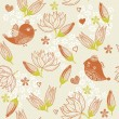 Seamless floral background with birds in vector - Stock Vector