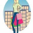 Shopping woman in the city. - Stock Vector