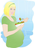 A young pregnant woman in the kitchen. — Stock Vector